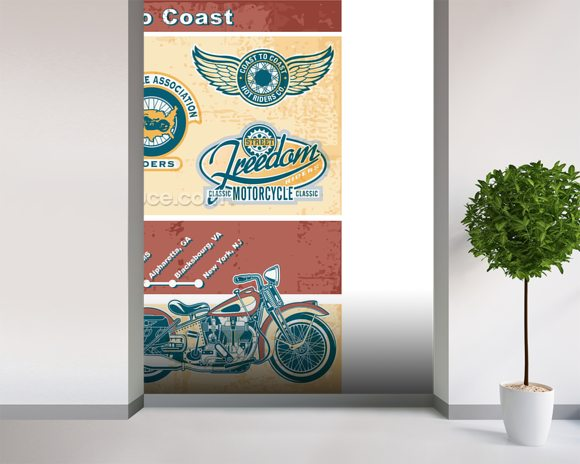 Vintage Motocycle Illustration wall mural room setting