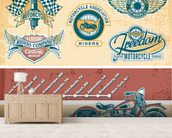 Vintage Motocycle Illustration wall mural living room preview