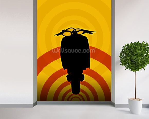 Moped Illustration wall mural room setting