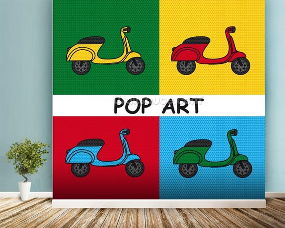 Moped mural wallpaper room setting