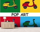 Moped mural wallpaper living room preview
