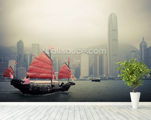 Chinese sailboat wallpaper wall mural wallsauce for Chinese mural wallpaper