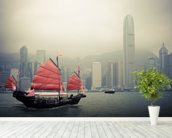 Chinese Sailboat wall mural in-room view