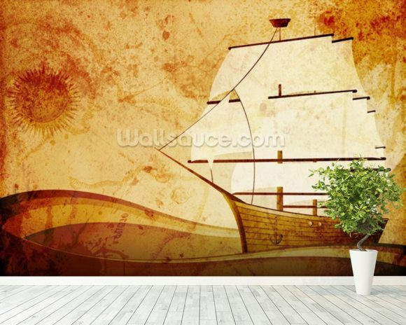 Old Sail Ship mural wallpaper room setting