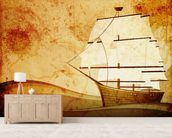 Old Sail Ship mural wallpaper living room preview