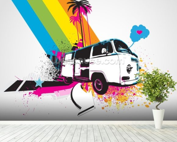 Retro Camper Van Illustration mural wallpaper room setting