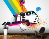 Retro Camper Van Illustration mural wallpaper kitchen preview