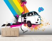 Retro Camper Van Illustration mural wallpaper living room preview