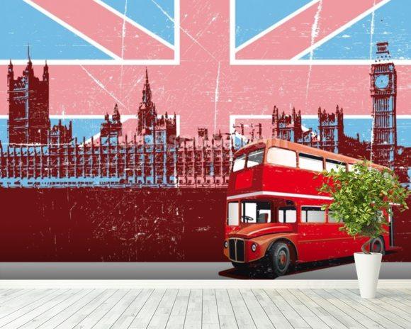 Elegant Union Jack London Wallpaper Mural Room Setting Design Inspirations