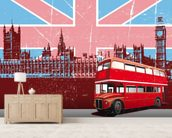 Union Jack London wallpaper mural living room preview