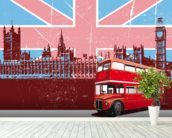 Union Jack London wallpaper mural in-room view