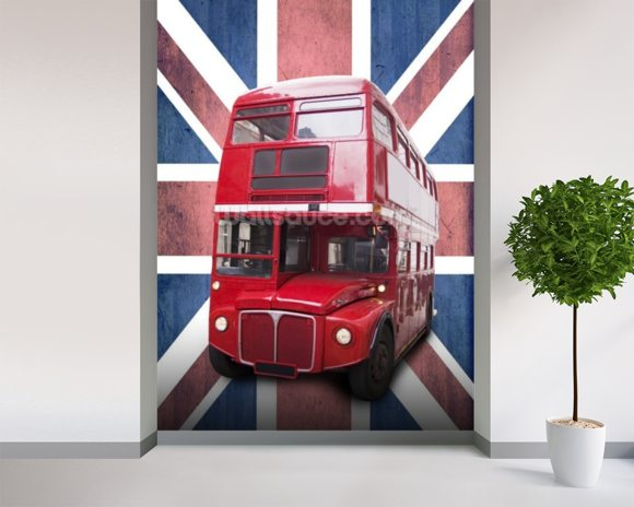 London Bus on Union Flag wall mural room setting
