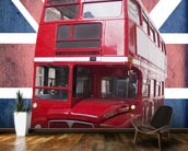 London Bus on Union Flag wall mural kitchen preview