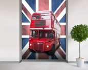 London Bus on Union Flag wall mural in-room view