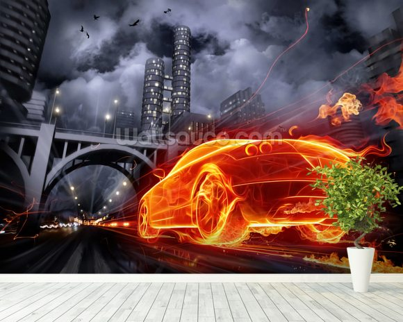 Fire Car wall mural room setting