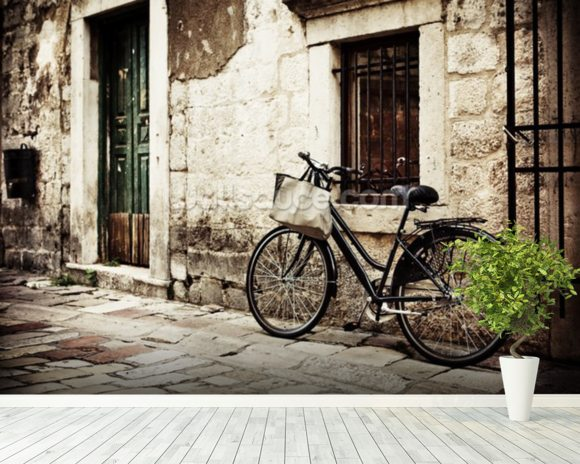 Bicycle mural wallpaper room setting