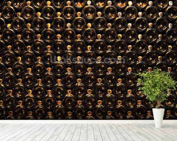 Wine Bottle Wall wall mural room setting