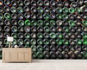 Old Wine Bottles wallpaper mural living room preview