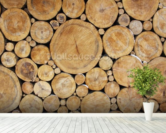 Stacked Round Logs wallpaper mural room setting
