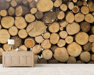 Stack of Logs mural wallpaper