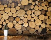 Stack of Logs mural wallpaper kitchen preview