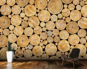 Stacked Logs Texture wall mural kitchen preview