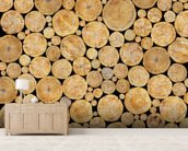 Stacked Logs Texture wall mural living room preview