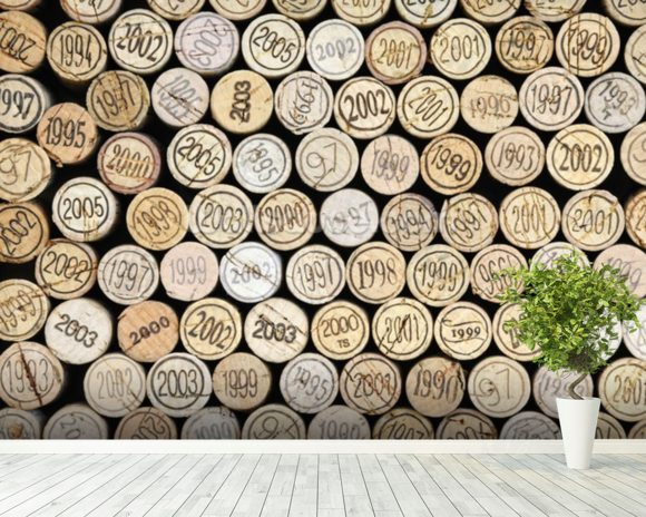 Wine Corks Effect wallpaper mural room setting