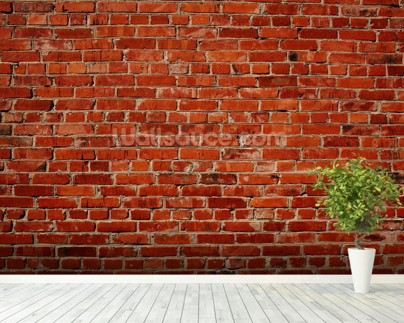 Red brick wall wallpaper wall mural wallsauce for Brick wall decal mural