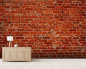 Red Brick Wall mural wallpaper living room preview