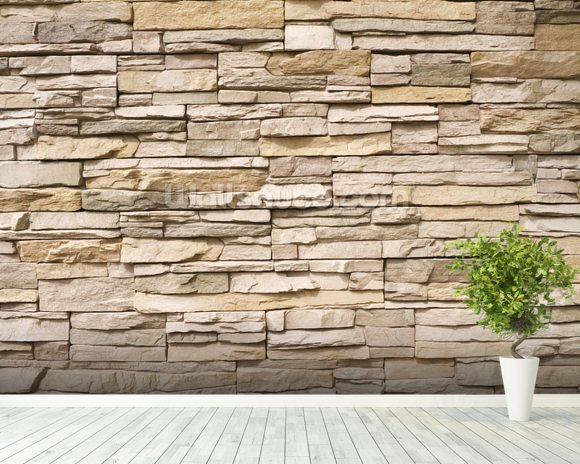 Stacked Stone Wall wall mural room setting
