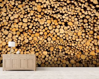 Stacked Logs wallpaper mural