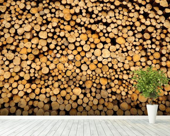 Stacked Logs wallpaper mural room setting