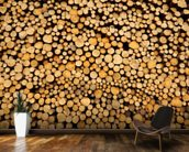 Stacked Logs wallpaper mural kitchen preview