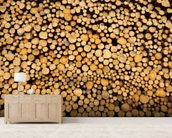 Stacked Logs wallpaper mural living room preview