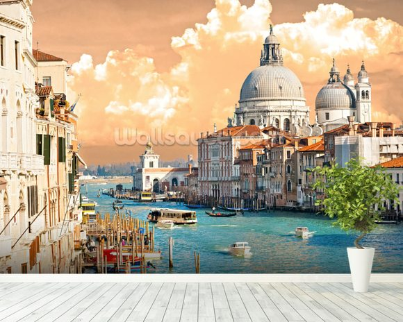 Venice Skies mural wallpaper room setting