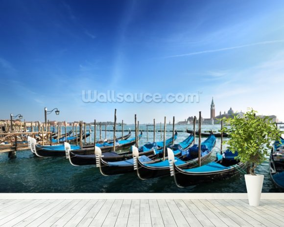 Gondolas in Venice wallpaper mural room setting