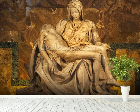 Michaelangelo's Pieta Sculpture wall mural room setting