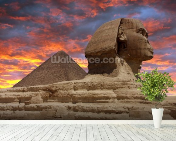 Pyramid and Sphinx at Sunset wallpaper mural room setting