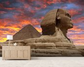 Pyramid and Sphinx at Sunset wallpaper mural living room preview
