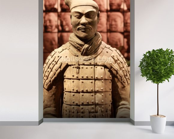 Terracotta Soldier mural wallpaper room setting