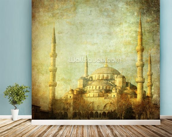 Vintage Blue Mosque, Istanbul wallpaper mural room setting