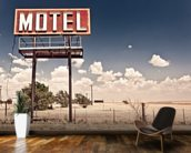 Vintage Route 66 Motel wallpaper mural kitchen preview