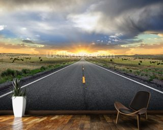Highway Sunset mural wallpaper
