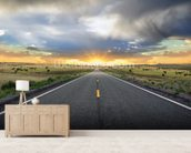 Highway Sunset mural wallpaper living room preview