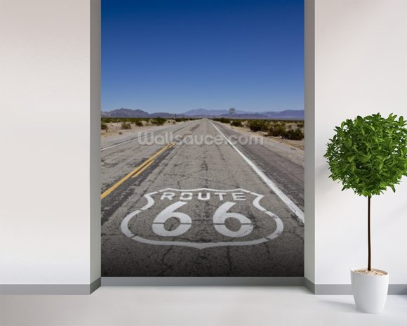 Portrait Route 66 wall mural room setting