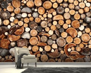 Pile of Fire Wood mural wallpaper