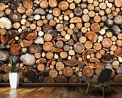 Pile of Fire Wood mural wallpaper kitchen preview