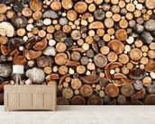 Pile of Fire Wood mural wallpaper living room preview