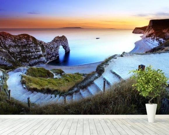 Durdle Door Sunset mural wallpaper room setting
